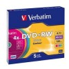 43297 Диски DVD+RW Verbatim 4х, 4.7Gb (COLOUR, Slim Case, 5 шт.)