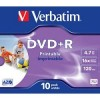 43508 Диски DVD+R Verbatim 16-x, 4.7 Gb, Printable (Jewel Case, 10шт.)